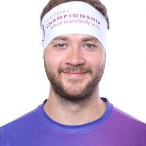 Sport headband Virtual Championship – WHITE Basic